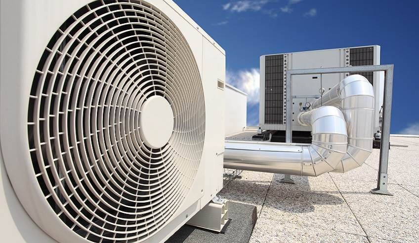 Large commercial HVAC unity on a roof.